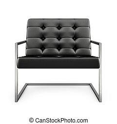 poltrona, moderno, isolato, interpretazione, 2, sfondo nero, bianco, 3d