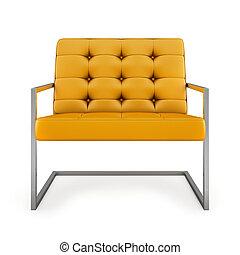 poltrona, moderno, isolato, interpretazione, fondo, arancia, bianco, 3d