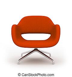 poltrona, moderno, isolato, interpretazione, fondo, bianco rosso, 3d