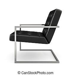 poltrona, moderno, isolato, interpretazione, sfondo nero, bianco, 3d