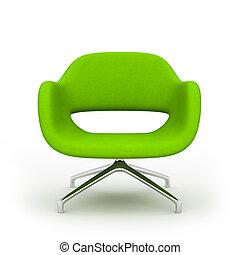 poltrona, moderno, isolato, interpretazione, sfondo verde, bianco, 3d
