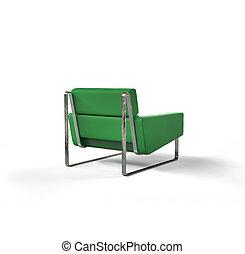 poltrona, moderno, verde, isolato