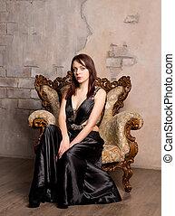 poltrona, mulher, jovem, elegante