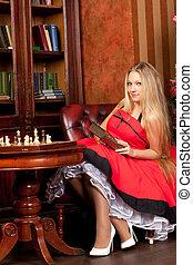 poltrona, mulher, livro