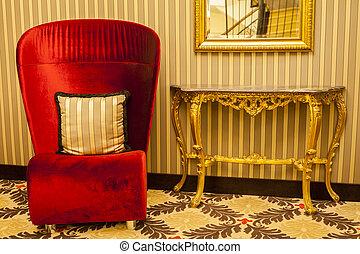 poltrona, reale, decorazione, athmosphere, riscaldare, rosso