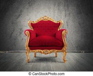 poltrona, rosso, oro, lusso