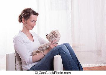 poltrona, sentando, mulher, pelúcia