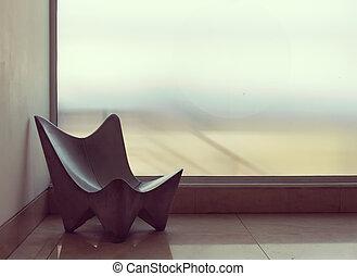 poltrona, solitario, atrio, vuoto, concreto