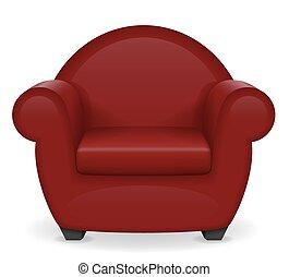poltrona, vetorial, vermelho, ilustração, mobília