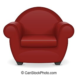 poltrona, vettore, rosso, illustrazione, mobilia
