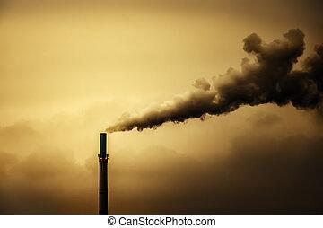 poluição, chaminé industrial, fumaça, ar