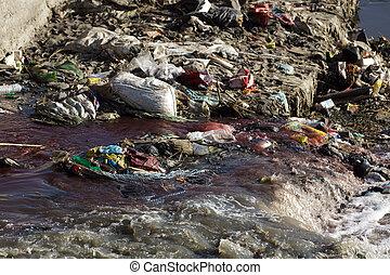 poluição, em, rio
