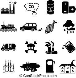 poluição, jogo, ícones