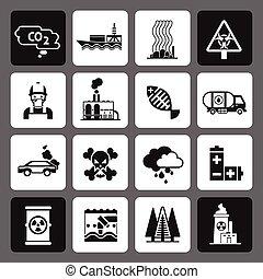 poluição, jogo, pretas, ícones