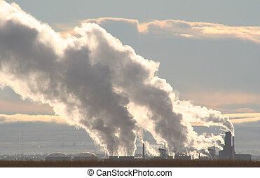 poluição, manhã
