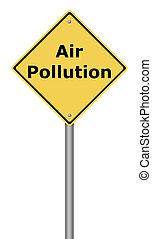 poluição, sinal aviso, ar