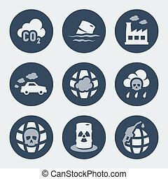 poluição, vetorial, jogo, ícones