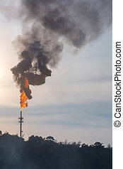 polution, tour, huile, distillation
