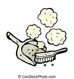 polvere, cartone animato, pan, spazzola