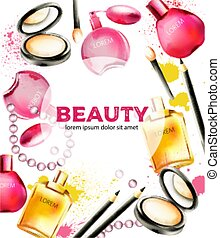 polvere faccia, perline, cosmetico, spazzole, prodotti, profumi, bellezza