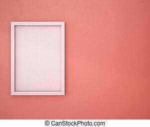polveroso, rosa, cornice, vuoto, wall.