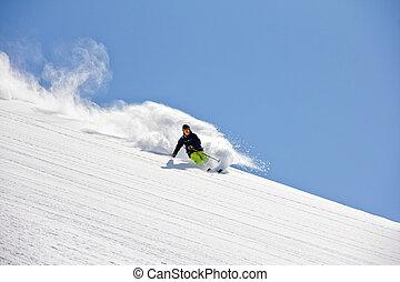 polvo, extremo, freeride, profundo, esquiador