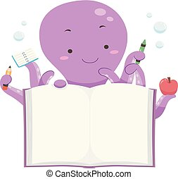 polvo, mascote, livro aberto, ilustração