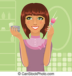 polvo, niña, ser aplicable, cepillo, maquillaje