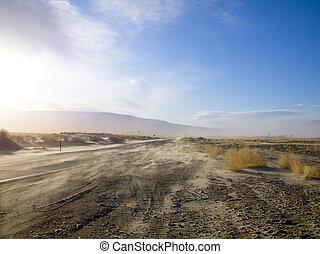 polvoriento, desierto, camino