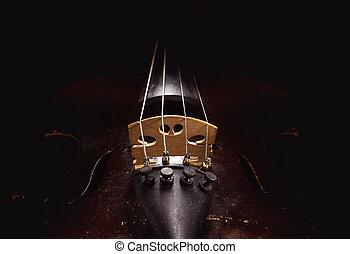 polvoriento, viejo, detalles, violín