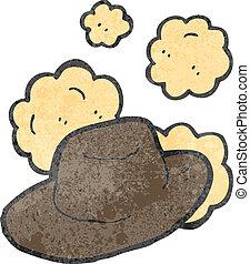 polvoriento, viejo, sombrero, caricatura