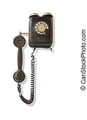 polvoriento, wall-mounted, teléfono viejo