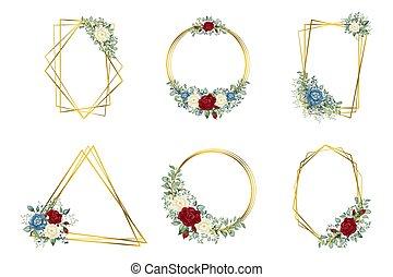 polyèdre, géométrique, fleurs