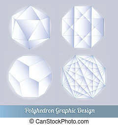 polyèdre, lotissements, ensemble, vecteur, 3d