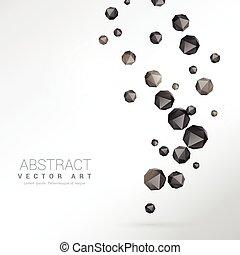polyèdre, particules, arrière-plan noir
