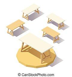 poly, テーブル, 等大, 低い, オフィス