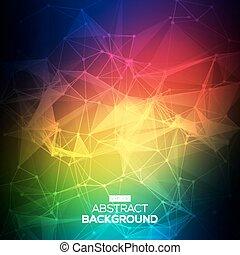 poly, 明るい, 科学, colorfull, 抽象的, コミュニケーション, 低い, 分子, 接続, ベクトル, バックグラウンド。, polygonal, structure., 技術
