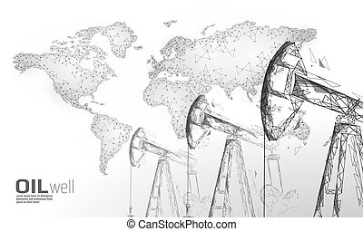 poly, 用具一式, デリック, juck, concept., 石油, polygonal, 低い, 燃料, 白, 経済, 点, オイル, 金融, ビジネス, ガソリン, ポンプ, イラスト, ボーリングする, 線, production., 産業, 井戸, 接続, ベクトル, pumpjack