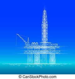 poly, 用具一式, 青, デリック, concept., 石油, polygonal, 抽出, 低い, 燃料, 沖合いに, 経済, 点, オイル, 金融, ビジネス, ガソリン, ガス, イラスト, ボーリングする, 線, production., 産業, 海洋, 接続, ベクトル