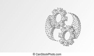 poly, ingeniería, origami, resumen, concept., yin-yan, ...