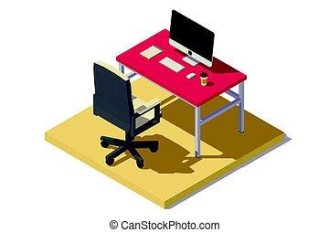 poly, isometric, baixo, escritório, local trabalho