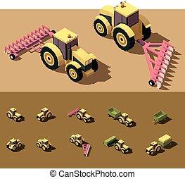 poly, isometric, vektor, alacsony, traktor