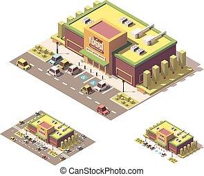poly, isometric, wektor, niski, supermarket