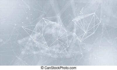 poly, lines., connecter, polygonal, sombre, boucle, résumé, fond, bas, espace, points