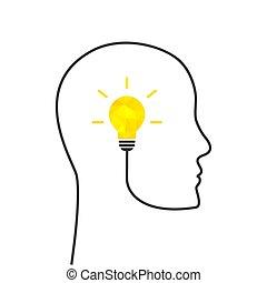 poly, pensée, bas, ampoule, concept, résumé, lumière