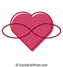 polyamory, symbool., hart, en, infinity., eindeloos, love., witte achtergrond, en, rood, kleuren