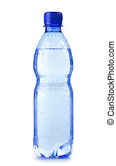 polycarbonate, botella plástica, de, agua mineral, aislado, blanco, plano de fondo