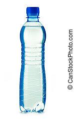 polycarbonate, botella plástica, de, agua mineral, aislado, blanco