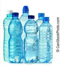 polycarbonate, plastic flaska, av, mineral vatten, isolerat,...