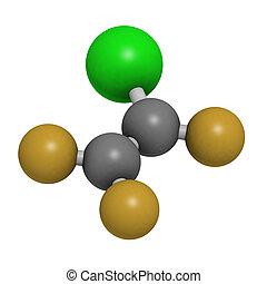 polychlo, refrigerant, molecola, (ctfe), chlorotrifluoroethylene